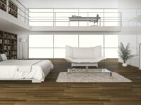 3d rendering oak wood floor with bed in double space floor